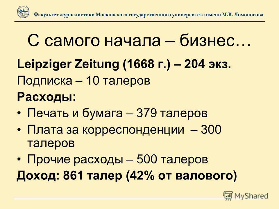 С самого начала – бизнес… Leipziger Zeitung (1668 г.) – 204 экз. Подписка – 10 талеров Расходы: Печать и бумага – 379 талеров Плата за корреспонденции – 300 талеров Прочие расходы – 500 талеров Доход: 861 талер (42% от валового)