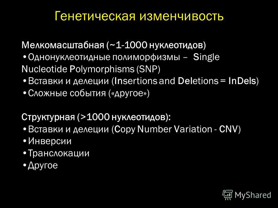 Генетическая изменчивость Мелкомасштабная (~1-1000 нуклеотидов) Однонуклеотидные полиморфизмы – Single Nucleotide Polymorphisms (SNP) Вставки и делеции (Insertions and Deletions = InDels) Сложные события («другое») Структурная (>1000 нуклеотидов): Вс