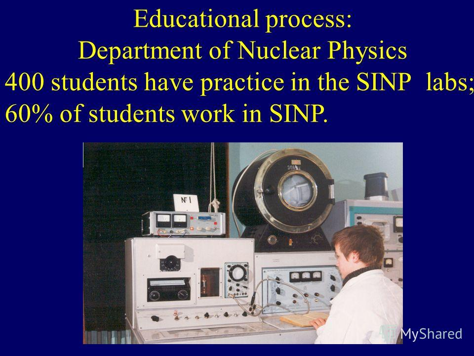 Educational process: Department of Nuclear Physics 400 students have practice in the SINP labs; 60% of students work in SINP.