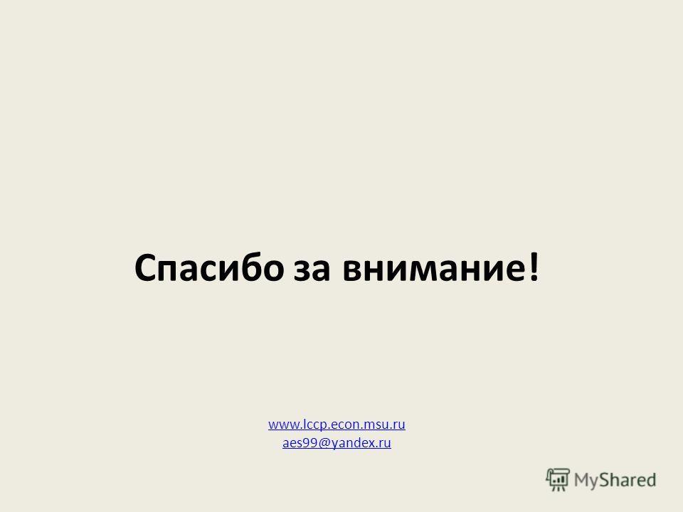 Спасибо за внимание! www.lccp.econ.msu.ru aes99@yandex.ru www.lccp.econ.msu.ru aes99@yandex.ru