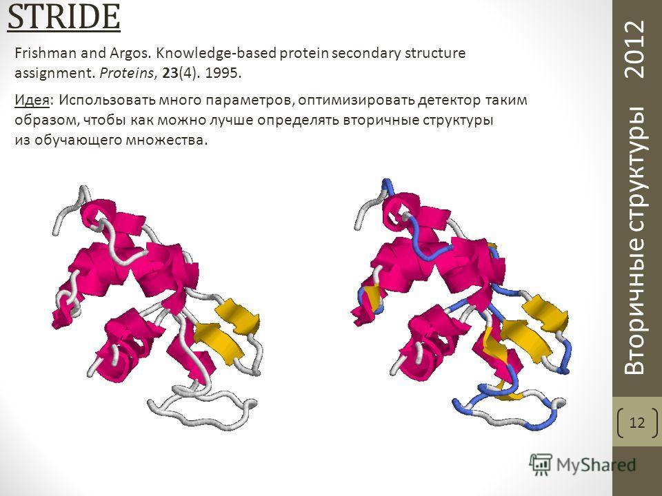 Вторичные структуры 2012 STRIDE 12 Идея: Использовать много параметров, оптимизировать детектор таким образом, чтобы как можно лучше определять вторичные структуры из обучающего множества. Frishman and Argos. Knowledge-based protein secondary structu