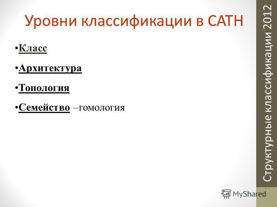 Структурные классификации 2012 Класс Архитектура Топология Семейство –гомология Уровни классификации в CATH