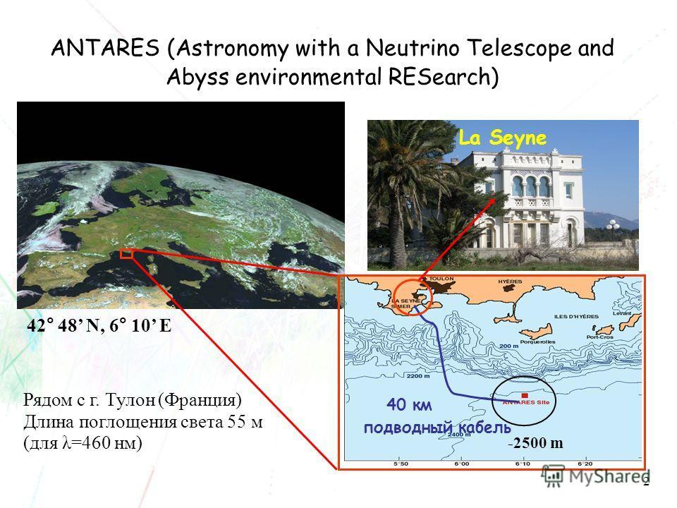 2 40 км подводный кабель -2500 m La Seyne 42° 48 N, 6° 10 E Рядом с г. Тулон (Франция) Длина поглощения света 55 м (для λ=460 нм) Effective diffusion length > 300 m ANTARES (Astronomy with a Neutrino Telescope and Abyss environmental RESearch)