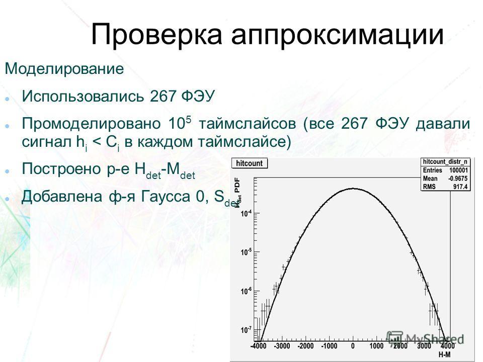 Проверка аппроксимации Моделирование Использовались 267 ФЭУ Промоделировано 10 5 таймслайсов (все 267 ФЭУ давали сигнал h i < C i в каждом таймслайсе) Построено р-е H det -M det Добавлена ф-я Гаусса 0, S det