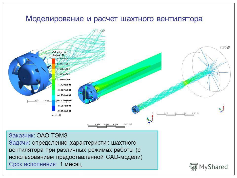Моделирование и расчет шахтного вентилятора Заказчик: ОАО ТЭМЗ Задачи: определение характеристик шахтного вентилятора при различных режимах работы (с использованием предоставленной CAD-модели) Срок исполнения: 1 месяц