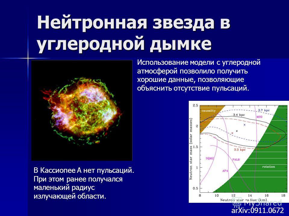 Нейтронная звезда в углеродной дымке arXiv:0911.0672 В Кассиопее А нет пульсаций. При этом ранее получался маленький радиус излучающей области. Использование модели с углеродной атмосферой позволило получить хорошие данные, позволяющие объяснить отсу