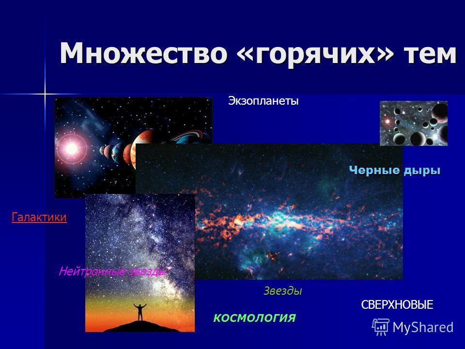 Множество «горячих» тем Экзопланеты Звезды Галактики КОСМОЛОГИЯ СВЕРХНОВЫЕ Черные дыры Нейтронные звезды