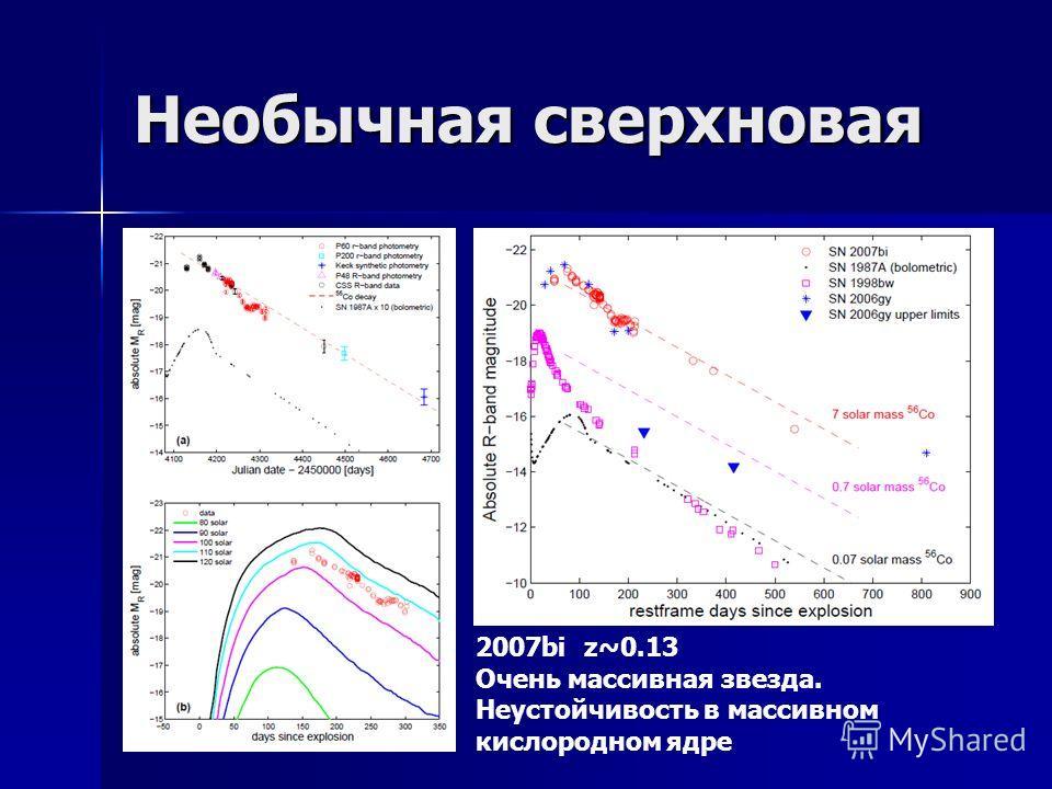Необычная сверхновая 2007bi z~0.13 Очень массивная звезда. Неустойчивость в массивном кислородном ядре