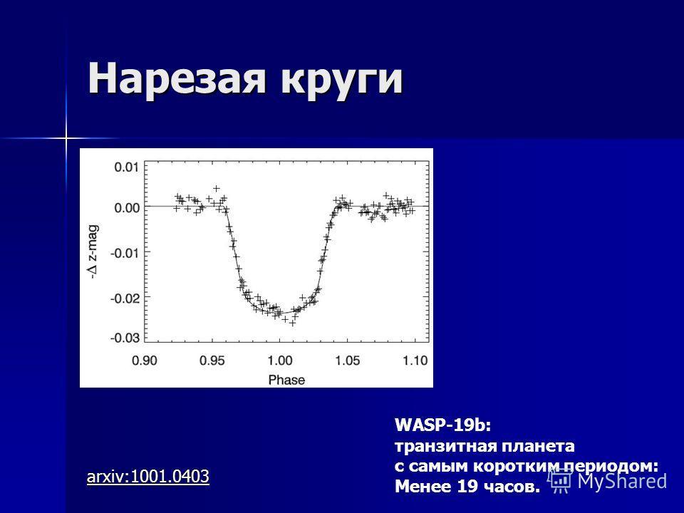 Нарезая круги arxiv:1001.0403 WASP-19b: транзитная планета с самым коротким периодом: Менее 19 часов.