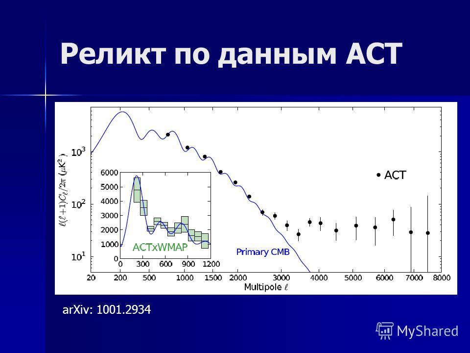 Реликт по данным ACT arXiv: 1001.2934