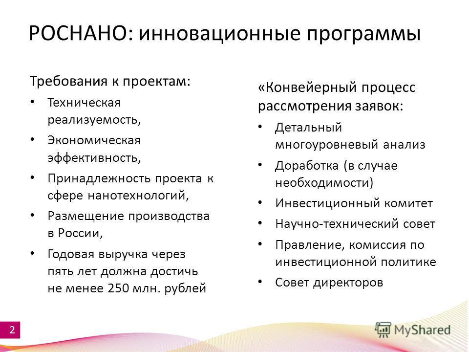 2 РОСНАНО: инновационные программы Требования к проектам: Техническая реализуемость, Экономическая эффективность, Принадлежность проекта к сфере нанотехнологий, Размещение производства в России, Годовая выручка через пять лет должна достичь не менее