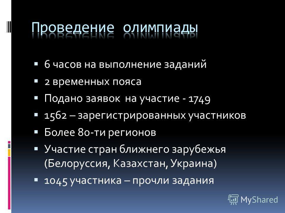6 часов на выполнение заданий 2 временных пояса Подано заявок на участие - 1749 1562 – зарегистрированных участников Более 80-ти регионов Участие стран ближнего зарубежья (Белоруссия, Казахстан, Украина) 1045 участника – прочли задания