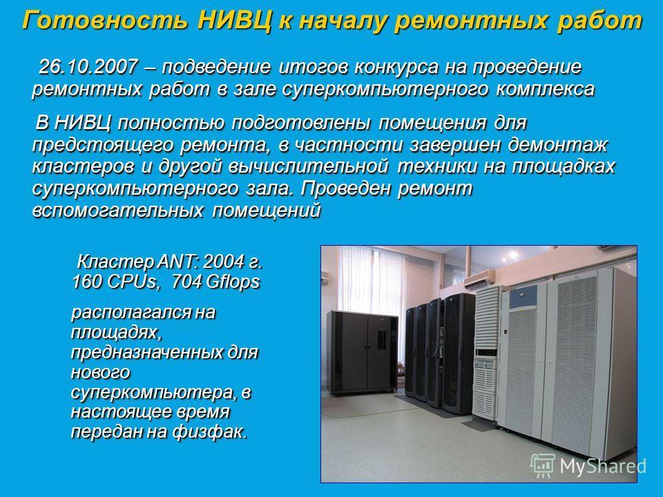 Готовность НИВЦ к началу ремонтных работ Кластер ANT: 2004 г. 160 CPUs, 704 Gflops Кластер ANT: 2004 г. 160 CPUs, 704 Gflops располагался на площадях, предназначенных для нового суперкомпьютера, в настоящее время передан на физфак. располагался на пл