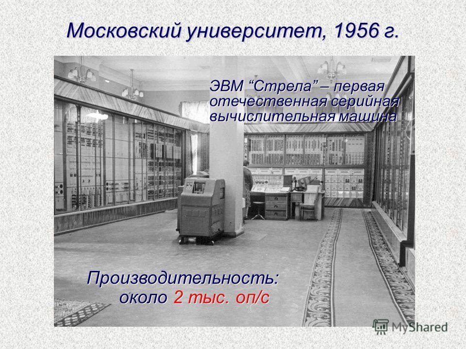 Московский университет, 1956 г. Производительность: около 2 тыс. оп/с Производительность: около 2 тыс. оп/с ЭВМ Стрела – первая отечественная серийная вычислительная машина ЭВМ Стрела – первая отечественная серийная вычислительная машина