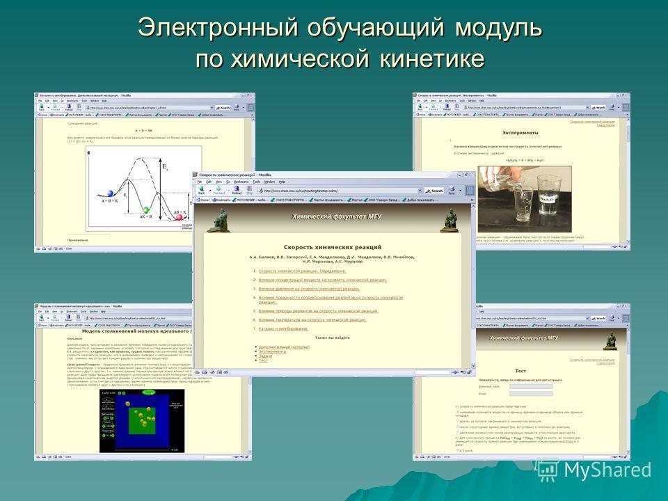 Электронный обучающий модуль по химической кинетике