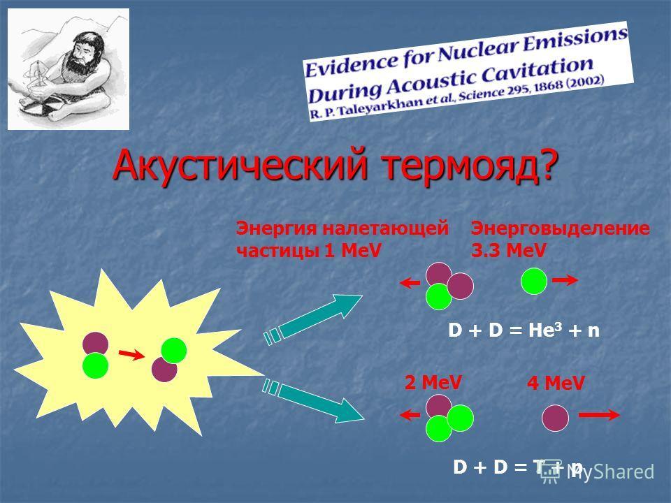 Акустический термояд? D + D = He 3 + n D + D = T + p Энергия налетающей частицы 1 MeV Энерговыделение 3.3 MeV 2 MeV 4 MeV