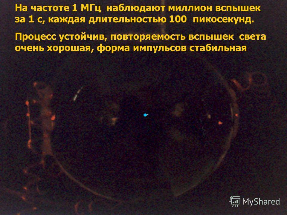 На частоте 1 МГц наблюдают миллион вспышек за 1 с, каждая длительностью 100 пикосекунд. Процесс устойчив, повторяемость вспышек света очень хорошая, форма импульсов стабильная