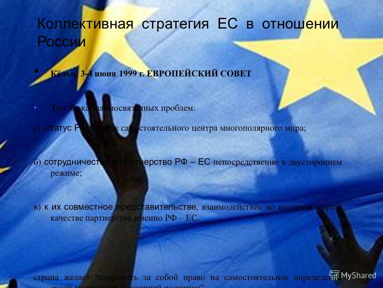 Коллективная стратегия ЕС в отношении России Кёльн, 3-4 июня 1999 г. ЕВРОПЕЙСКИЙ СОВЕТ Три блока взаимосвязанных проблем: а) статус России как самостоятельного центра многополярного мира; б) сотрудничество и партнерство РФ – ЕС непосредственно в двус