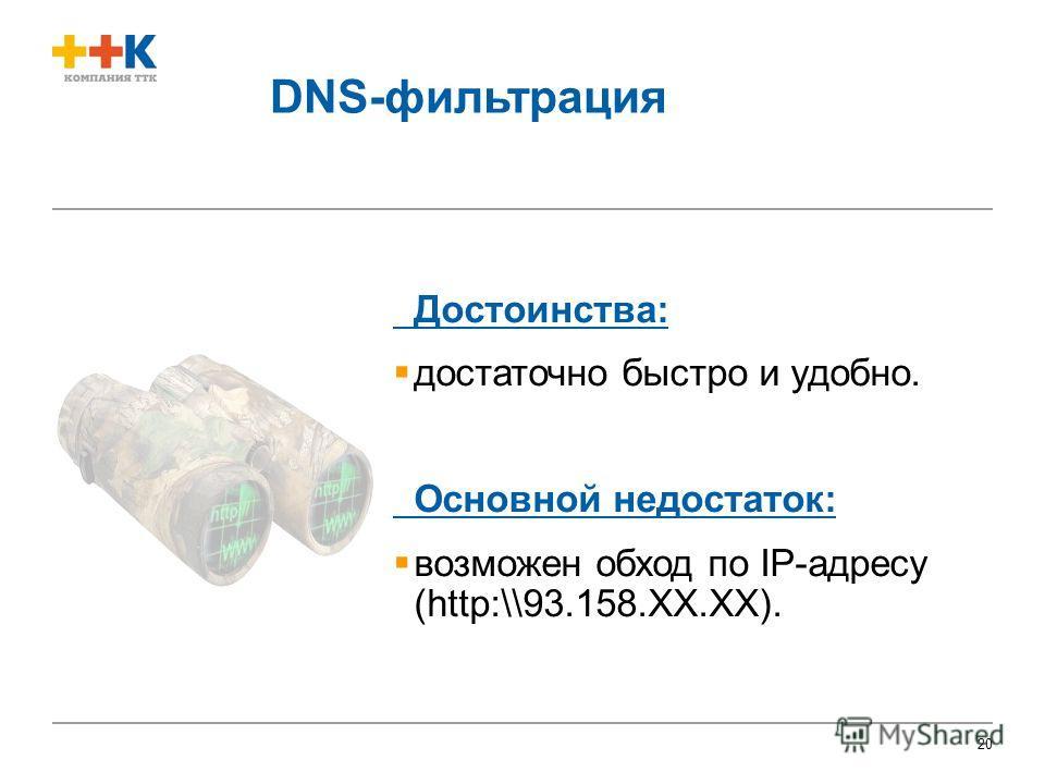 20 DNS-фильтрация Достоинства: достаточно быстро и удобно. Основной недостаток: возможен обход по IP-адресу (http:\\93.158.ХХ.ХХ).