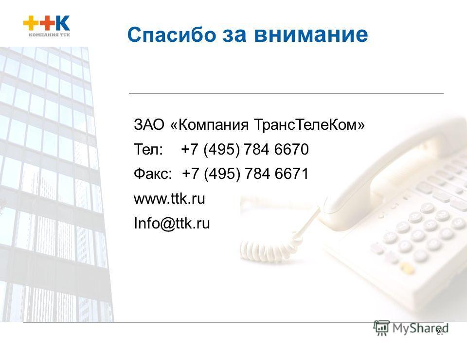 26 Спасибо за внимание ЗАО «Компания ТрансТелеКом» Тел: +7 (495) 784 6670 Факс: +7 (495) 784 6671 www.ttk.ru Info@ttk.ru