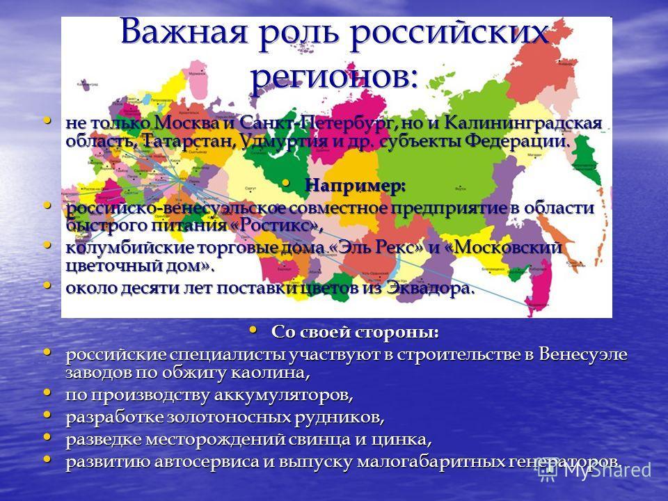 не только Москва и Санкт-Петербург, но и Калининградская область, Татарстан, Удмуртия и др. субъекты Федерации. не только Москва и Санкт-Петербург, но и Калининградская область, Татарстан, Удмуртия и др. субъекты Федерации. Например: Например: россий