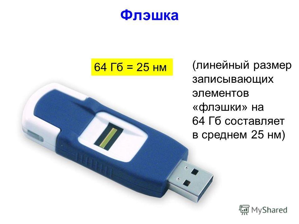 Флэшка 20 64 Гб = 25 нм (линейный размер записывающих элементов «флэшки» на 64 Гб составляет в среднем 25 нм)