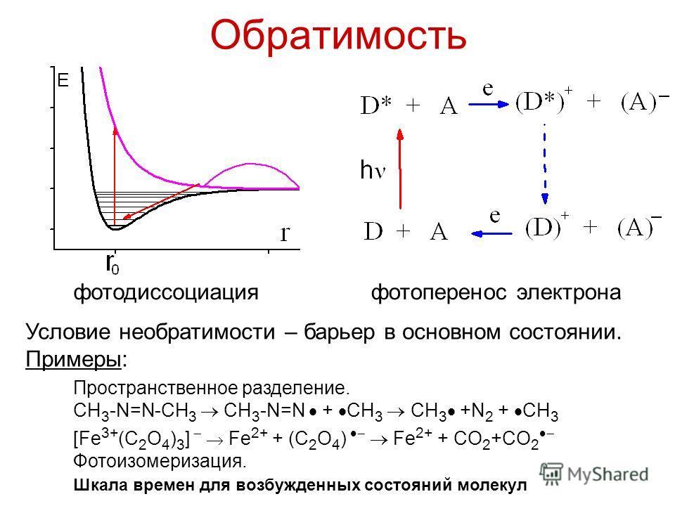 Обратимость фотоперенос электронафотодиссоциация [Fe 3+ (C 2 O 4 ) 3 ] Fe 2+ + (C 2 O 4 ) Fe 2+ + CO 2 +CO 2 Фотоизомеризация. Пространственное разделение. CH 3 -N=N-CH 3 CH 3 -N=N + CH 3 CH 3 +N 2 + CH 3 Условие необратимости – барьер в основном сос