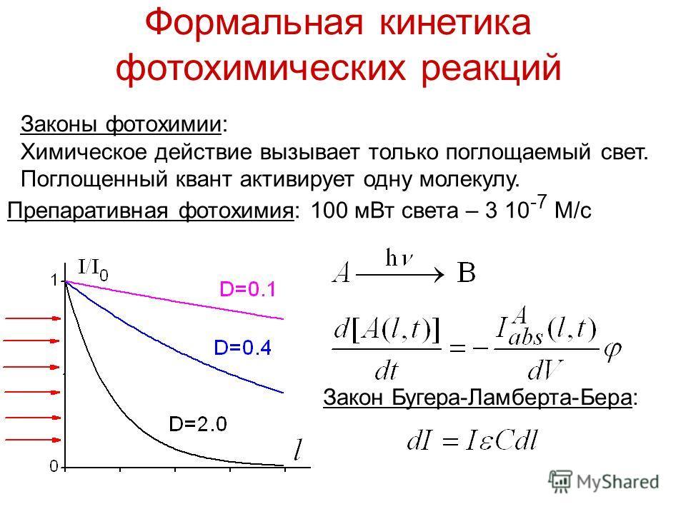 Формальная кинетика фотохимических реакций Законы фотохимии: Химическое действие вызывает только поглощаемый свет. Поглощенный квант активирует одну молекулу. Закон Бугера-Ламберта-Бера: Препаративная фотохимия: 100 мВт света – 3 10 -7 М/с