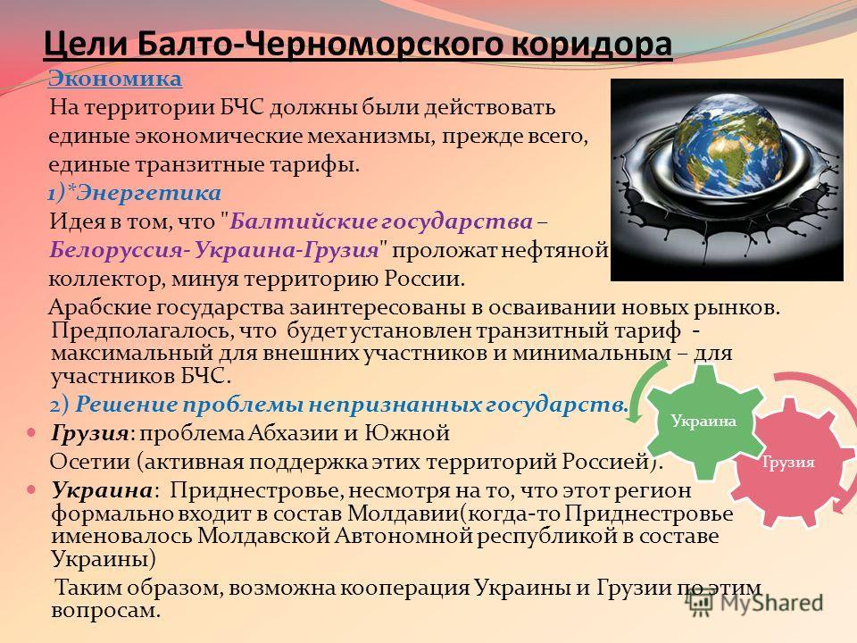 Цели Балто-Черноморского коридора Экономика На территории БЧС должны были действовать единые экономические механизмы, прежде всего, единые транзитные тарифы. 1)*Энергетика Идея в том, что