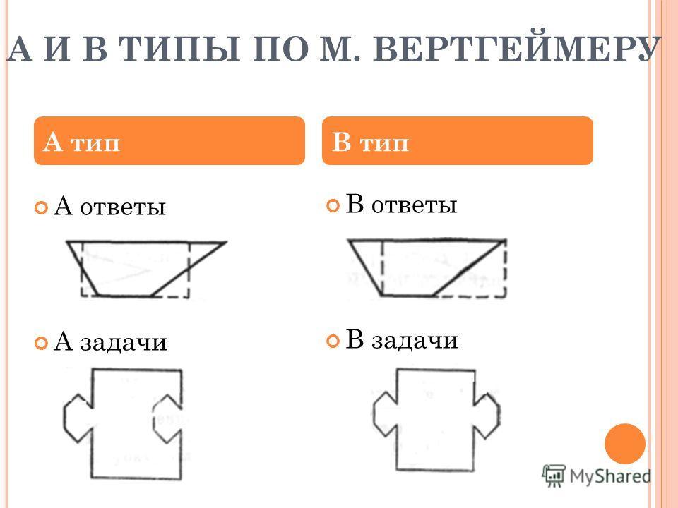 А И B ТИПЫ ПО М. ВЕРТГЕЙМЕРУ В ответы В задачи А типВ тип А ответы А задачи