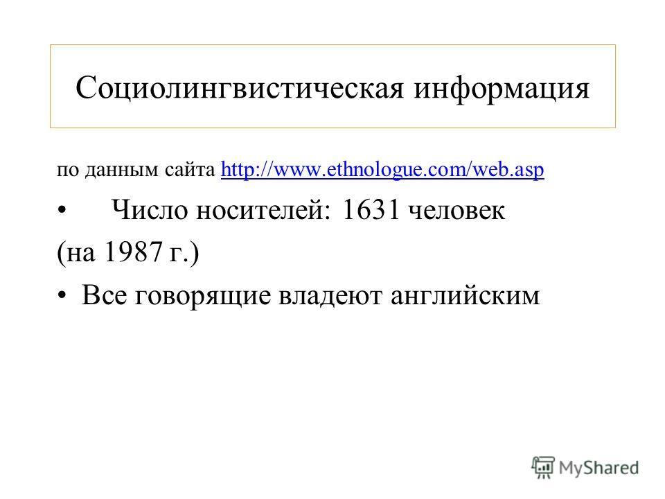 Социолингвистическая информация по данным сайта http://www.ethnologue.com/web.asp Число носителей: 1631 человек (на 1987 г.) Все говорящие владеют английским