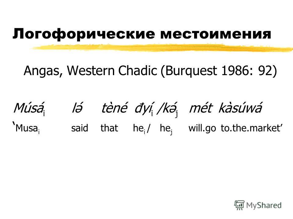 Логофорические местоимения Angas, Western Chadic (Burquest 1986: 92) Músá i lə́tèné đyí i /kə́ j métkàsúwá Musa i saidthat he i / he j will.go to.the.market