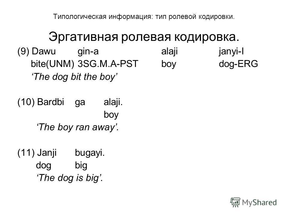 Типологическая информация: тип ролевой кодировки. Эргативная ролевая кодировка. (9) Dawu gin-aalajijanyi-I bite(UNM) 3SG.M.A-PSTboydog-ERG The dog bit the boy (10) Bardbigaalaji. boy The boy ran away. (11) Janjibugayi. dogbig The dog is big.