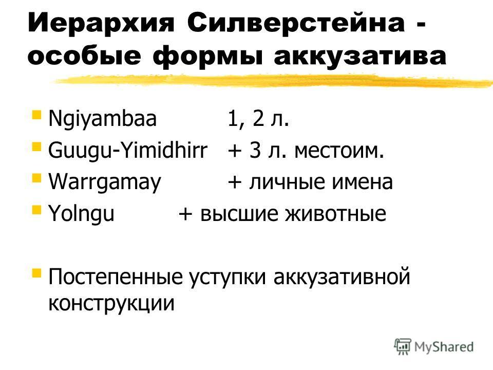 Иерархия Силверстейна - особые формы аккузатива Ngiyambaa1, 2 л. Guugu-Yimidhirr+ 3 л. местоим. Warrgamay+ личные имена Yolngu+ высшие животные Постепенные уступки аккузативной конструкции