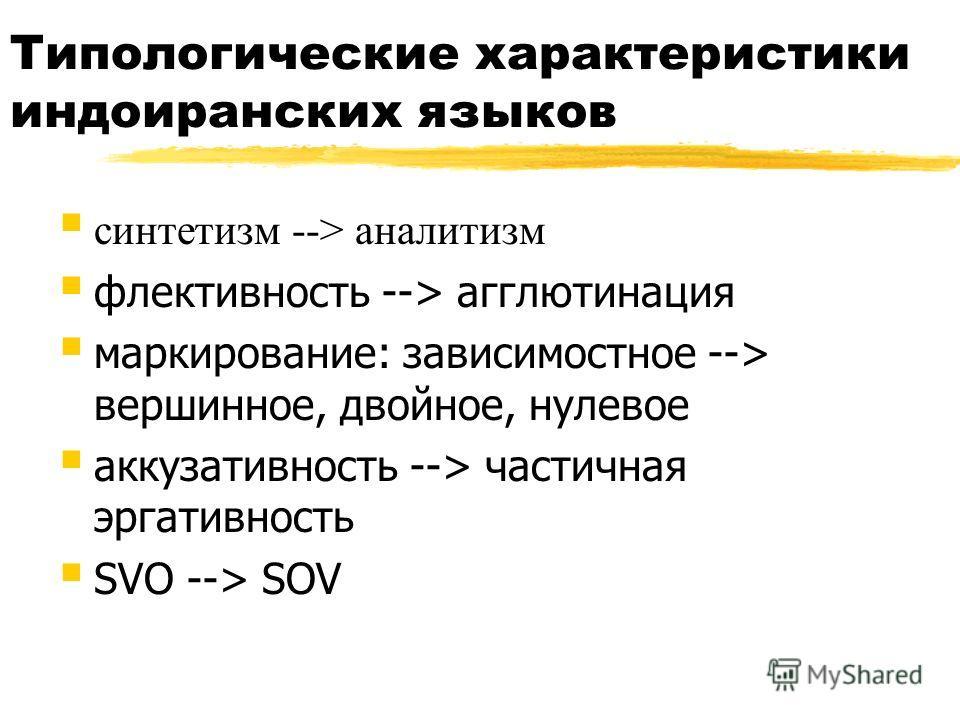 Типологические характеристики индоиранских языков синтетизм --> аналитизм флективность --> агглютинация маркирование: зависимостное --> вершинное, двойное, нулевое аккузативность --> частичная эргативность SVO --> SOV