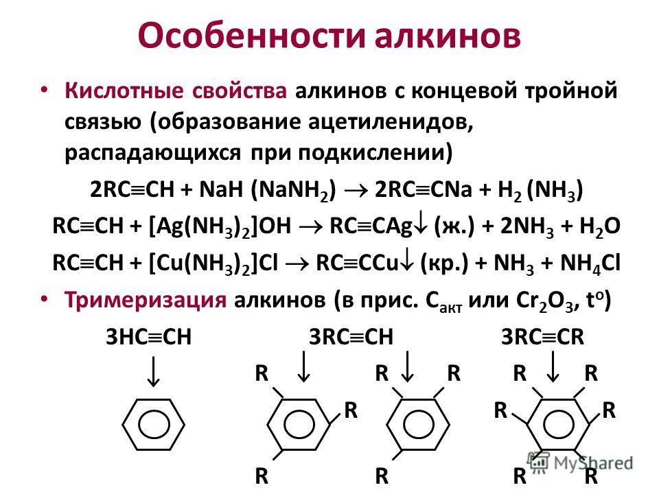Кислотные свойства алкинов с концевой тройной связью (образование ацетиленидов, распадающихся при подкислении) 2RC CH + NaH (NaNH 2 ) 2RC CNa + H 2 (NH 3 ) RC CH + [Ag(NH 3 ) 2 ]OH RC CAg (ж.) + 2NH 3 + H 2 O RC CH + [Cu(NH 3 ) 2 ]Cl RC CCu (кр.) + N