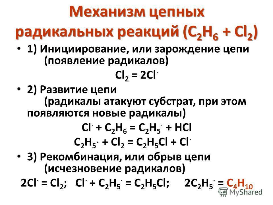 Механизм цепных радикальных реакций (C 2 H 6 + Cl 2 ) 1) Инициирование, или зарождение цепи (появление радикалов) Cl 2 = 2Cl 2) Развитие цепи (радикалы атакуют субстрат, при этом появляются новые радикалы) Cl + C 2 H 6 = C 2 H 5 + HCl C 2 H 5 + Cl 2