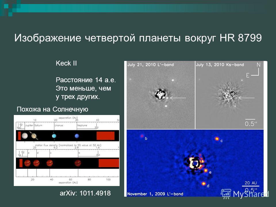 Изображение четвертой планеты вокруг HR 8799 arXiv: 1011.4918 Keck II Расстояние 14 а.е. Это меньше, чем у трех других. Похожа на Солнечную