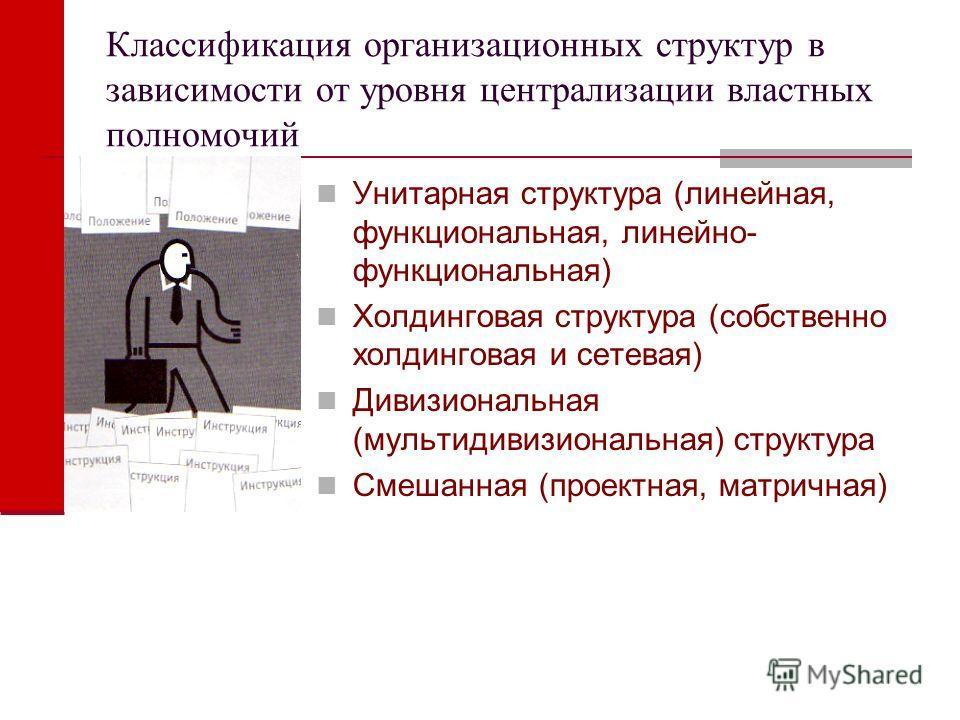 Классификация организационных структур в зависимости от уровня централизации властных полномочий Унитарная структура (линейная, функциональная, линейно- функциональная) Холдинговая структура (собственно холдинговая и сетевая) Дивизиональная (мультиди