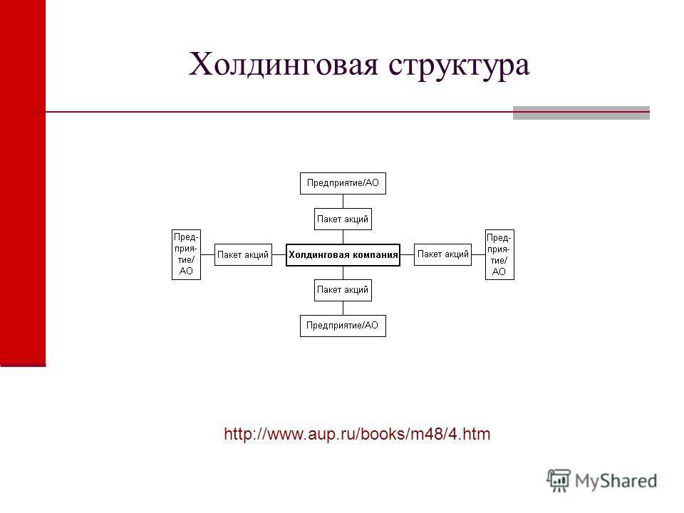 Холдинговая структура http://www.aup.ru/books/m48/4.htm