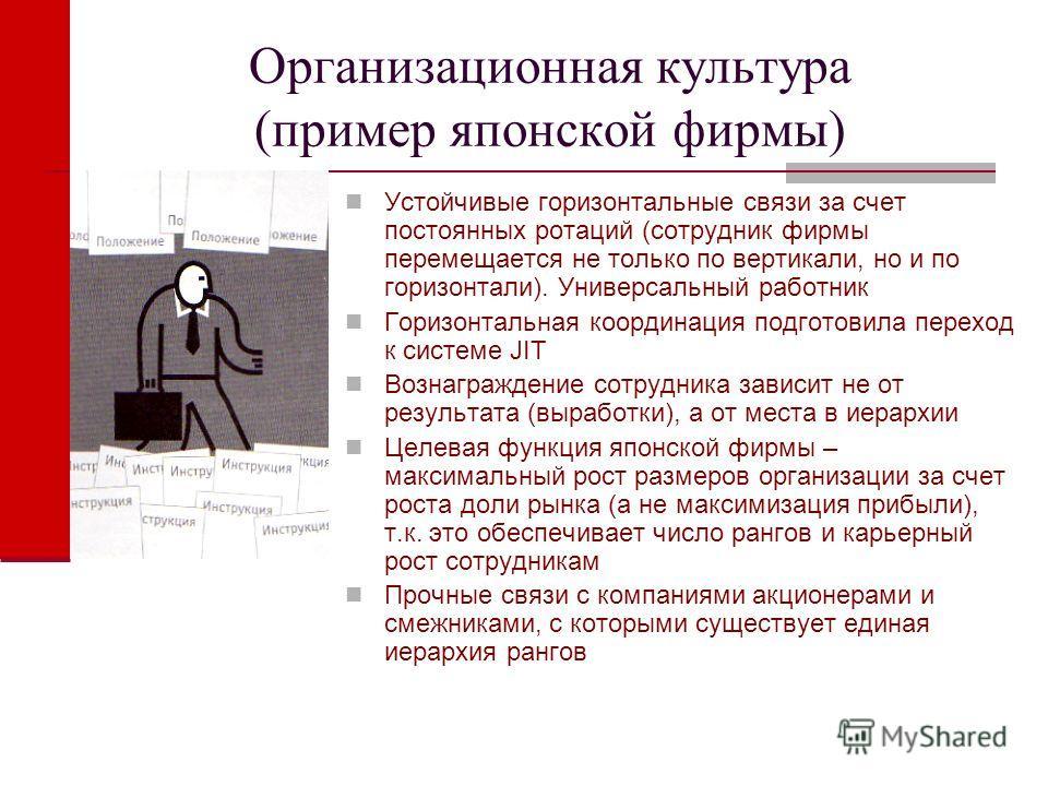 Организационная культура (пример японской фирмы) Устойчивые горизонтальные связи за счет постоянных ротаций (сотрудник фирмы перемещается не только по вертикали, но и по горизонтали). Универсальный работник Горизонтальная координация подготовила пере