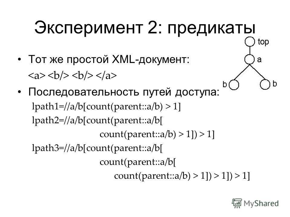 Эксперимент 2: предикаты Тот же простой XML-документ: Последовательность путей доступа: lpath1=//a/b[count(parent::a/b) > 1] lpath2=//a/b[count(parent::a/b[ count(parent::a/b) > 1]) > 1] lpath3=//a/b[count(parent::a/b[ count(parent::a/b[ count(parent