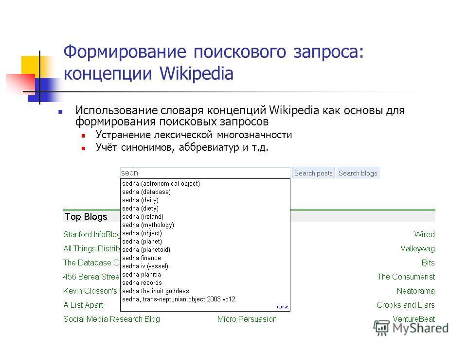 Формирование поискового запроса: концепции Wikipedia Использование словаря концепций Wikipedia как основы для формирования поисковых запросов Устранение лексической многозначности Учёт синонимов, аббревиатур и т.д.