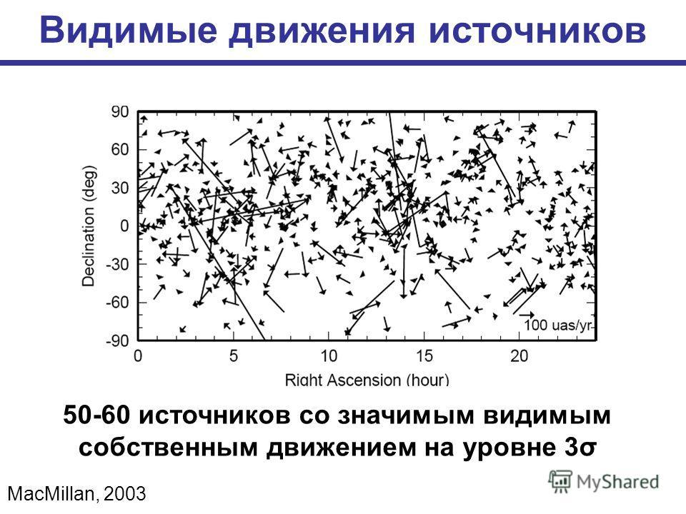 Видимые движения источников MacMillan, 2003 50-60 источников со значимым видимым собственным движением на уровне 3σ