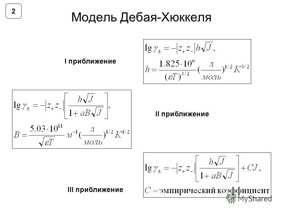 Модель Дебая-Хюккеля I приближение III приближение II приближение 2