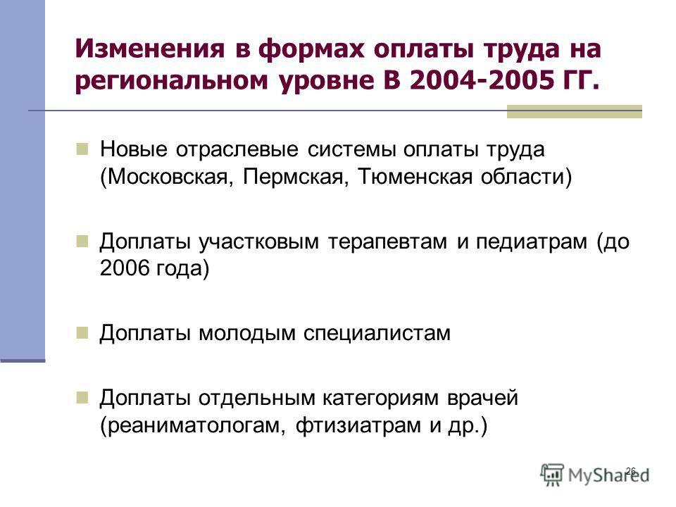 26 Изменения в формах оплаты труда на региональном уровне В 2004-2005 ГГ. Новые отраслевые системы оплаты труда (Московская, Пермская, Тюменская области) Доплаты участковым терапевтам и педиатрам (до 2006 года) Доплаты молодым специалистам Доплаты от