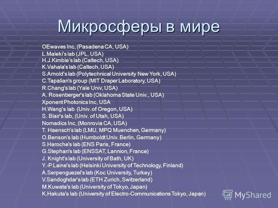 Микросферы в мире OEwaves Inc, (Pasadena CA, USA) L.Maleki's lab (JPL, USA) H.J.Kimble's lab (Caltech, USA) K.Vahala's lab (Caltech, USA) S.Arnold's lab (Polytechnical University New York, USA) C.Tapalian's group (MIT Draper Laboratory, USA) R.Chang'
