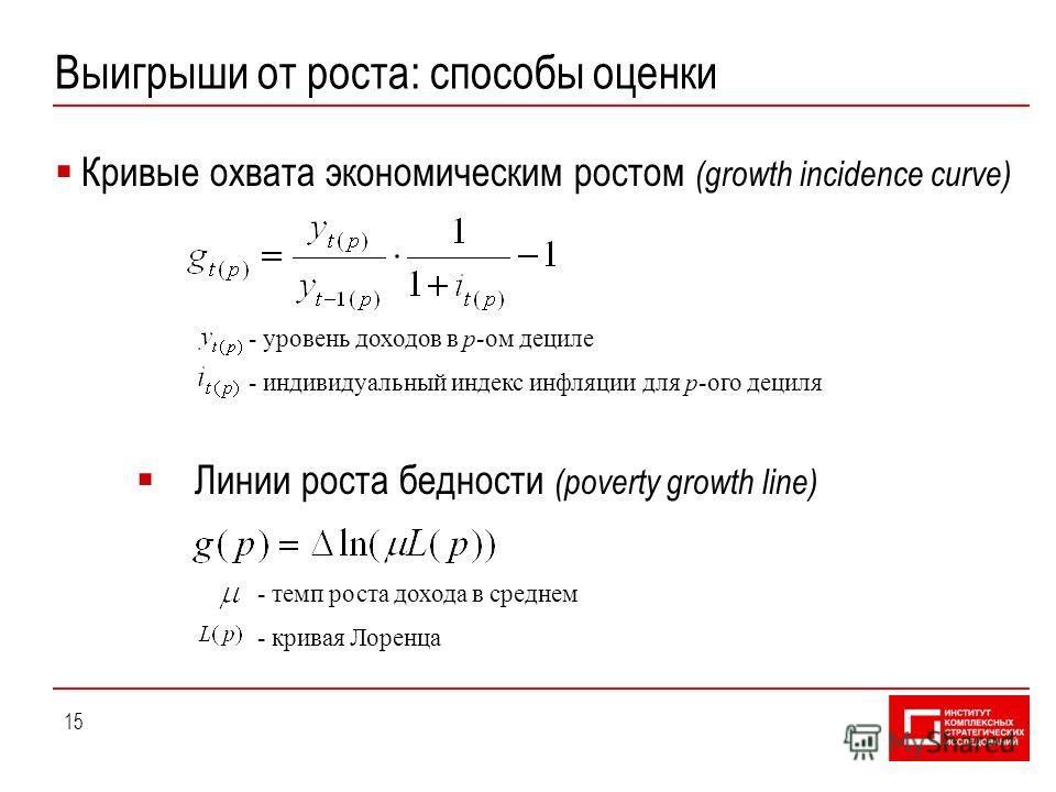 15 Выигрыши от роста: способы оценки Кривые охвата экономическим ростом (growth incidence curve) Линии роста бедности (poverty growth line) - уровень доходов в p-ом дециле - индивидуальный индекс инфляции для p-ого дециля - темп роста дохода в средне