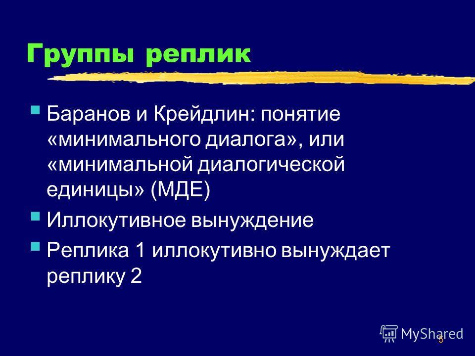 5 Группы реплик Баранов и Крейдлин: понятие «минимального диалога», или «минимальной диалогической единицы» (МДЕ) Иллокутивное вынуждение Реплика 1 иллокутивно вынуждает реплику 2