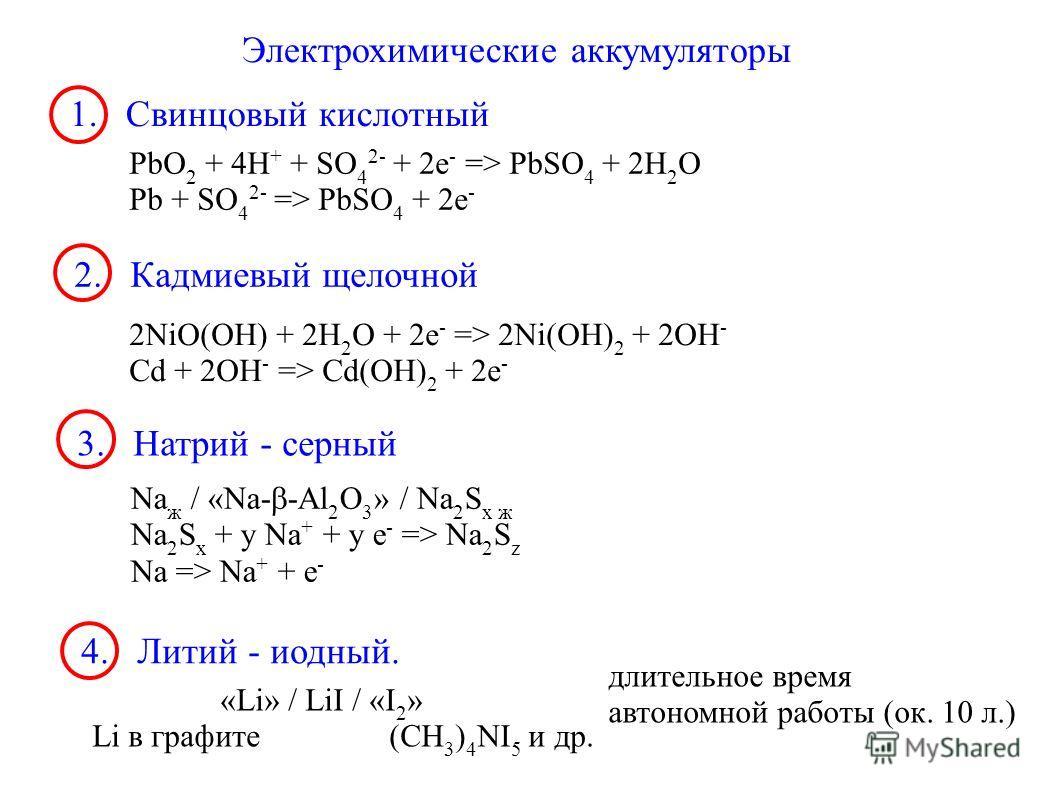 Электрохимические аккумуляторы 1. Свинцовый кислотный PbO 2 + 4H + + SO 4 2- + 2e - => PbSO 4 + 2H 2 O Pb + SO 4 2- => PbSO 4 + 2e - 2. Кадмиевый щелочной 2NiO(OH) + 2H 2 O + 2e - => 2Ni(OH) 2 + 2OH - Cd + 2OH - => Cd(OH) 2 + 2e - 3. Натрий - серный
